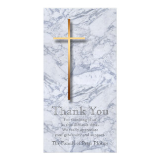 Golden Cross / Marble 1 - Sympathy Thank You Custom Photo Card