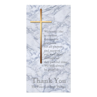 Golden Cross / Marble 2 - Sympathy Thank You Photo Cards