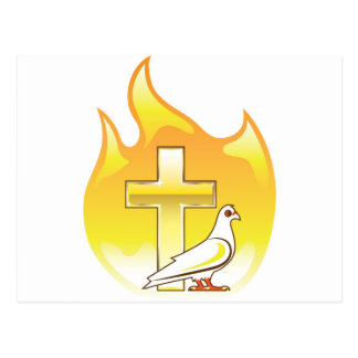 Golden cross on fire with dove near postcard