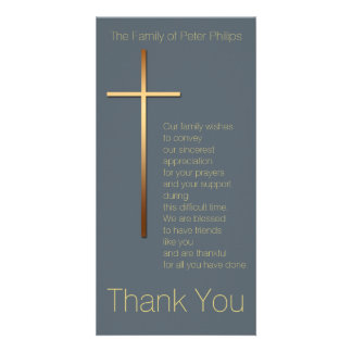 Golden Cross Sympathy Thank You Choose Color 1 Picture Card