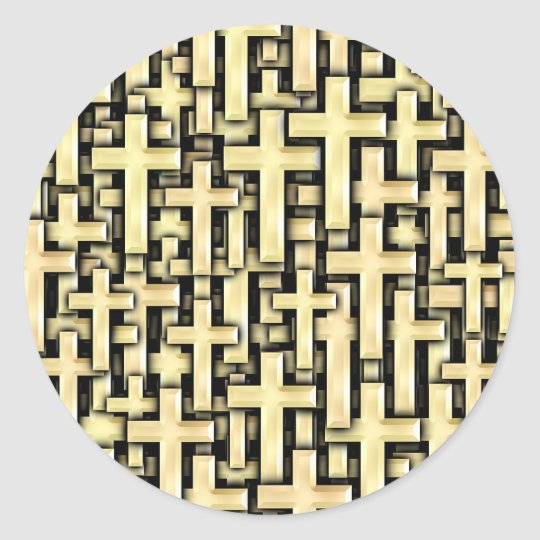 Golden Crosses Classic Round Sticker