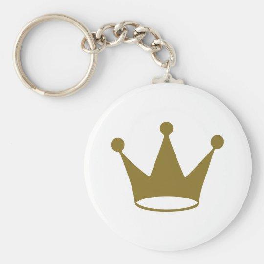 Golden crown basic round button key ring
