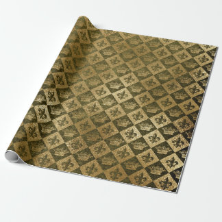 Golden Crown Confetti Royal Deep Green Chessboard Wrapping Paper