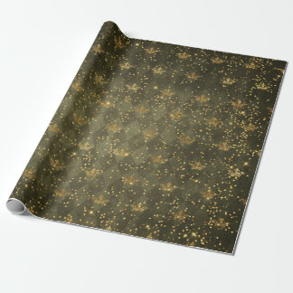 Golden Crown Confetti Royal Deep Green Geometric Wrapping Paper