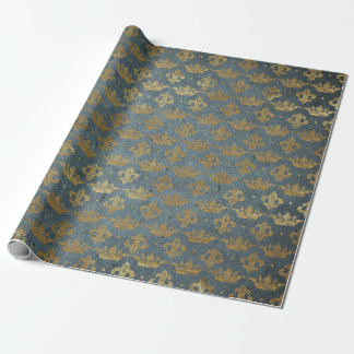 Golden Crown Confetti Royal Gray Blue Velvet Wrapping Paper