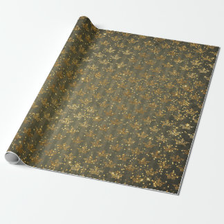Golden Crown Confetti Royal Green Wrapping Paper