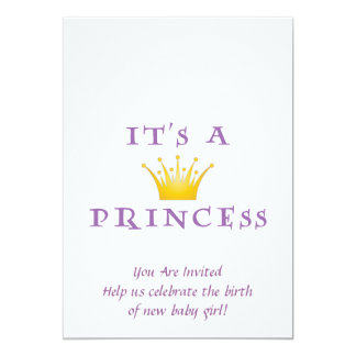 """Golden Crown """"It's a Princess"""" with Wizard font 5"""" X 7"""" Invitation Card"""
