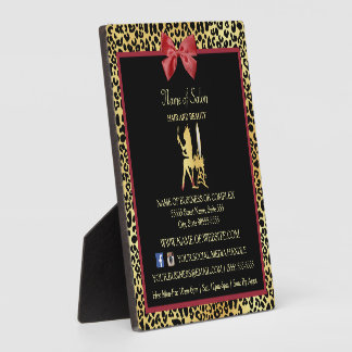 Golden Crown Leopard Red Bow Salon Contact Info Plaque