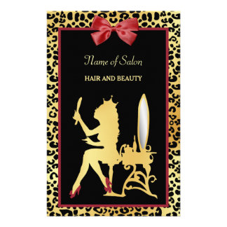 Golden Crown Leopard Red Bow Salon Grand Opening 14 Cm X 21.5 Cm Flyer