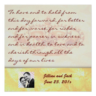 Golden Crown WEDDING Vows Display Print