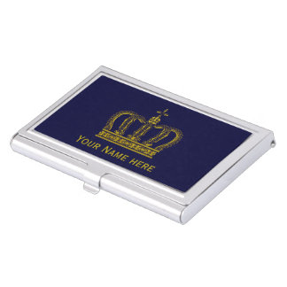 Golden Crown + your text Business Card Holders