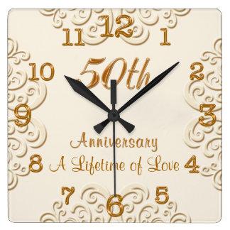 Golden Customizable 50th Wedding Anniversary Clock