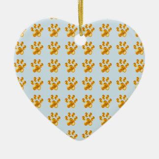 Golden cute little paws christmas ornament