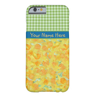 Golden Daffodils and Green Check Gingham Barely There iPhone 6 Case