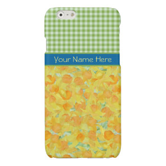 Golden Daffodils and Green Check Gingham iPhone 6 Plus Case