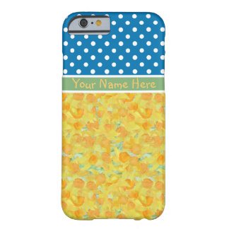 Golden Daffodils and White Polka Dots on Blue Barely There iPhone 6 Case