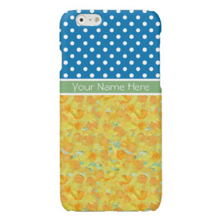 Golden Daffodils and White Polka Dots on Blue iPhone 6 Plus Case