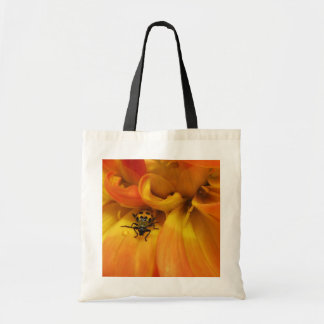 Golden Dahlia and Beetle Canvas Bag