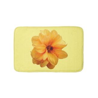 Golden Dahlia Floral Bath Mat