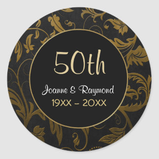 Golden Damask 50th Anniversary - Customize Classic Round Sticker