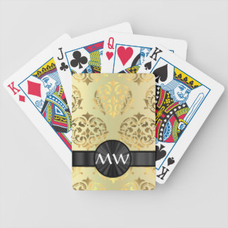 Golden damask bicycle playing cards
