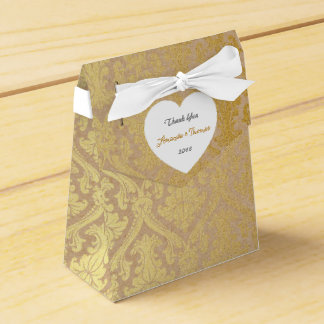 Golden Damask Cardboard Birthday Wedding Favor Favour Box