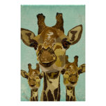 Golden Damask Giraffes  Art Poster