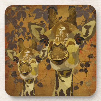 Golden Damask Giraffes Vines Coaster