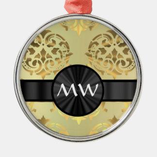 Golden damask monogrammed christmas ornament