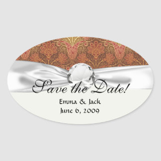 golden damask oval stickers