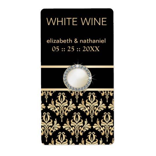 Golden Damask w Brooch Wedding Favour Wine Labels