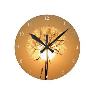 Golden Dandelion Sunlight Round Clock