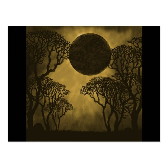 Golden Dark Forest Eclipse Postcard