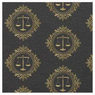Golden Decorative Scales of Justice | Law Gifts Fabric