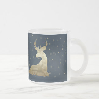 Golden Deer and Snowflakes Frosted Glass Mug