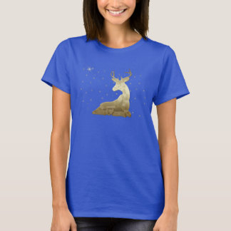 Golden Deer and Snowflakes T-Shirt