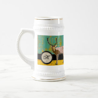 Golden Deer Initial Teal Stein Coffee Mug