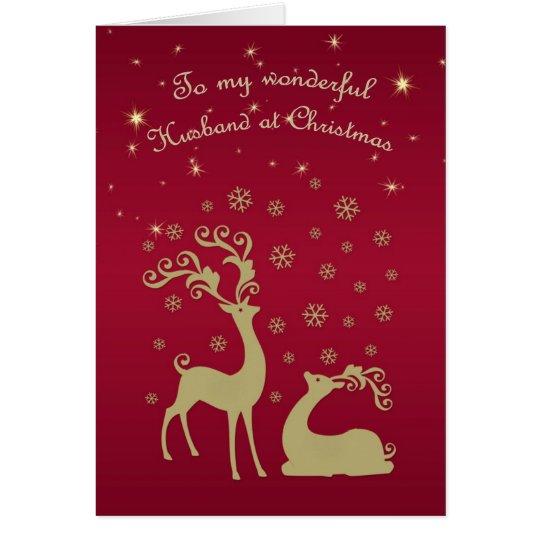 Golden deers, snowflakes , stars Husband Christmas Card