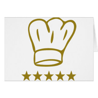 golden deluxe chef hat 5 stars icon greeting card