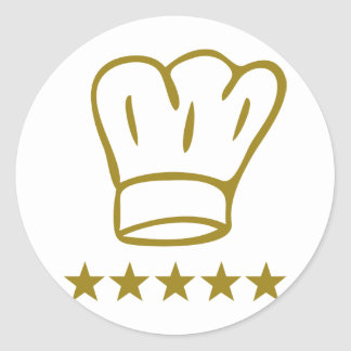 golden deluxe chef hat 5 stars icon round sticker