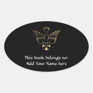 Golden Descent of The Holy Spirit Symbol Oval Sticker