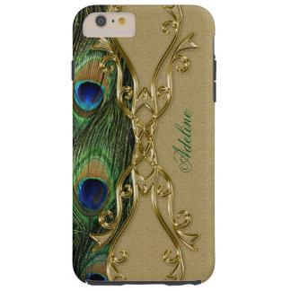 Golden Design Peacock Feathers Monogram Template Tough iPhone 6 Plus Case
