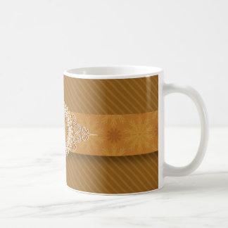 Golden Diagonal Stripes Monogram Mug