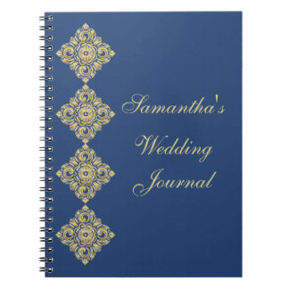 Golden Diamond Damask Blue Wedding Journal Spiral Note Book