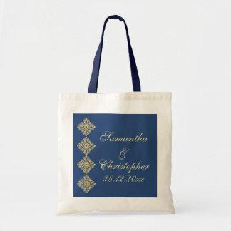 Golden Diamond Damask Blue Wedding Budget Tote Bag