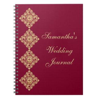 Golden Diamond Damask Wedding Journal Spiral Notebooks