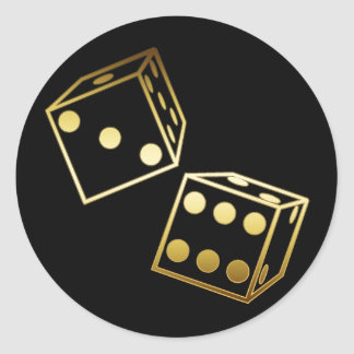 GOLDEN DICE CLASSIC ROUND STICKER