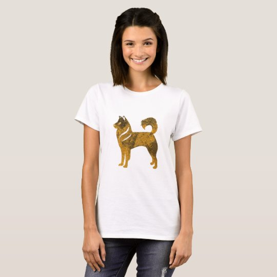 Golden Dog Husky Women's Basic T-Shirt, White T-Shirt