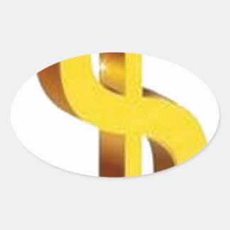 Golden dollar sign design oval sticker