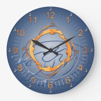 Golden Dolphins Ring Shades of Blue Large Clock